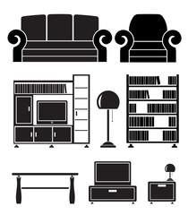 living room objects, furniture and equipment