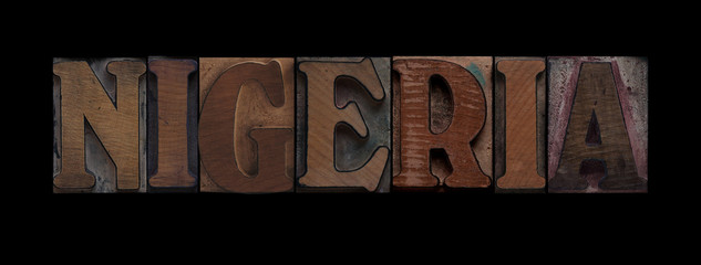 Nigeria in old wood type