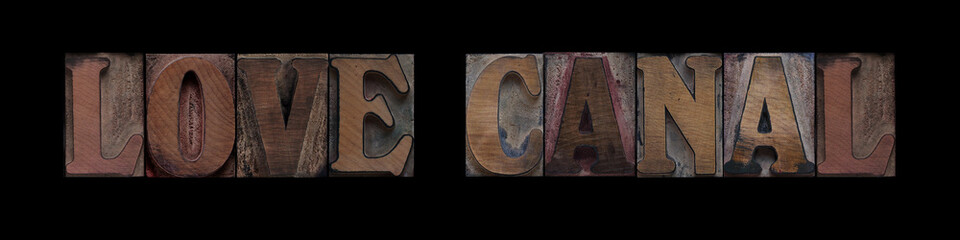 Love Canal in old wood type