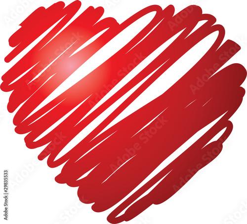 coeur rayonné, déssiné au feutre