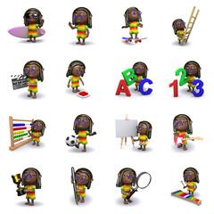 3d Rastafarian icons