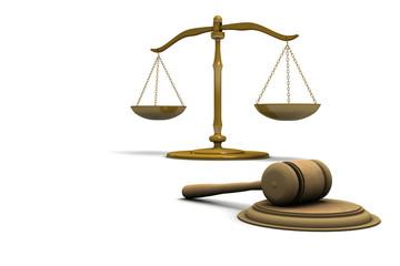 Simboli di giustizia su sfondo bianco