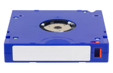 Computer backup tape for data recovery isolated on white