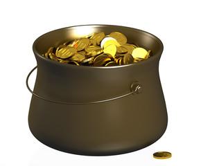 Котелок с золотыми манетами