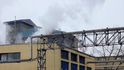 Smoke and steam from factory