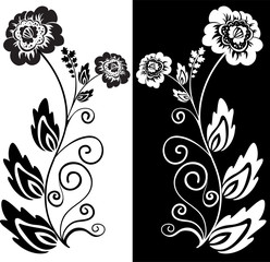set of two black and white hand-drawn flowers
