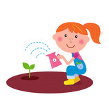 Small gardener girl watering plant in the garden. VECTOR