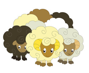 a vector illustration of a flock of sheep