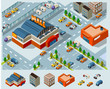 Mall and Grocery center Isometric
