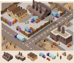 Factory Area  Isometric Vector