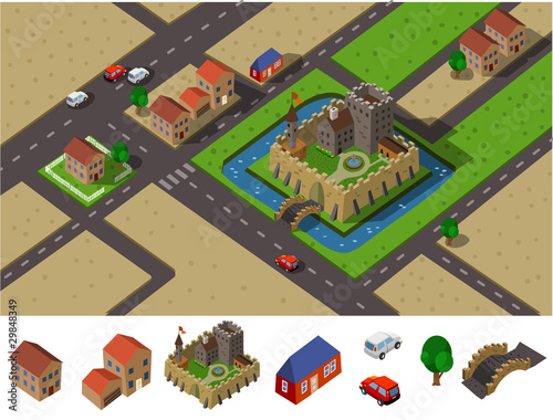 Castle countryside Isometric Vector