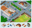 School environment Isometric Vector