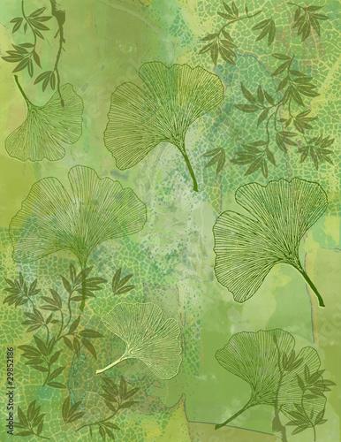 Fond Feuillage Bambou et Feuilles Ginkgo en Vert - Illustration © Artellia
