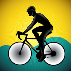 Stylized illustration of bicycle driver.