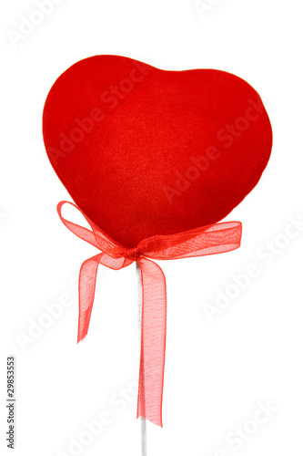 decorative  heart with ribbon isolated on white background