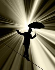 Walking tightrope silhouette