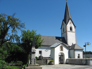 medieval church in a village