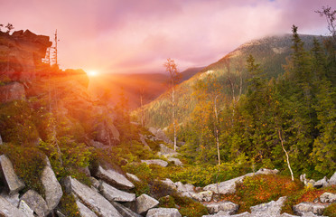 Autumn landscape in the mountains. Sunrise