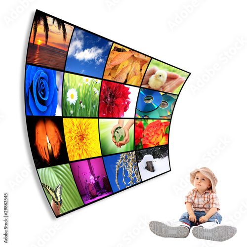 Cute child with big Tv