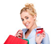 Attractive Young Woman Using Credit Card With Shopping Bags