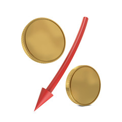 Percent sign with golden coins and red arrow