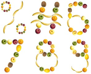 Digits made of fruits