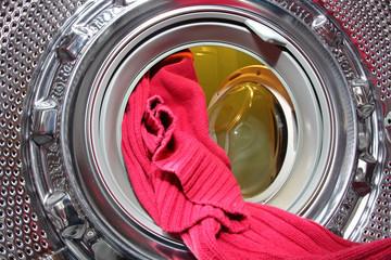 Washing machine inside wool sweater