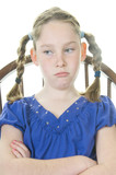 upset girl in chair poster