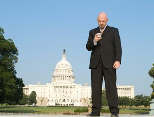 White Businessman Smart Phone Capitol Washington
