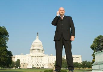 Caucasian Man Suit Phone Standing Washington DC