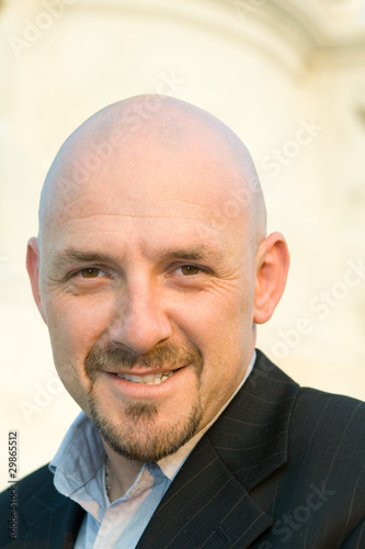 Smiling Caucasian Man Shaved Head Goatee Isolated