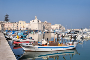 Panoramic view of Trani seaport. Apulia.
