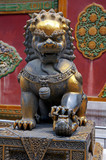 Protector lion in the Forbidden City of Beijing poster