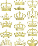 gold crowns vector collection
