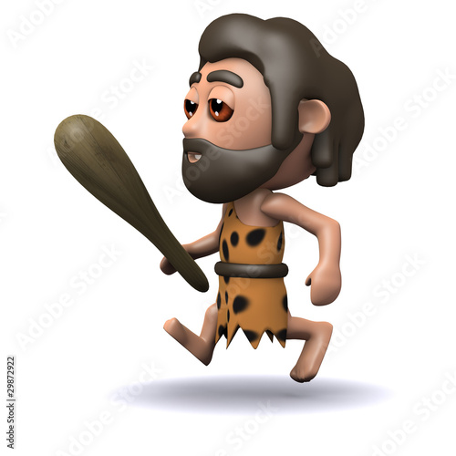 3d Stone age man runs after his breakfast