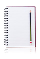 white paper of notebook with pencil.