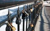 Locks on handrail poster