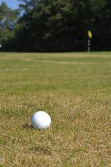 Golfball und Fahne