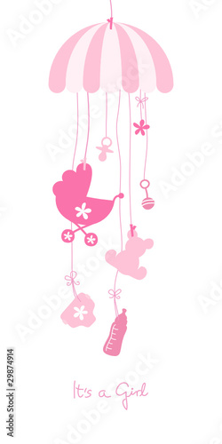 Baby Card Mobile Symbols Girl Pink