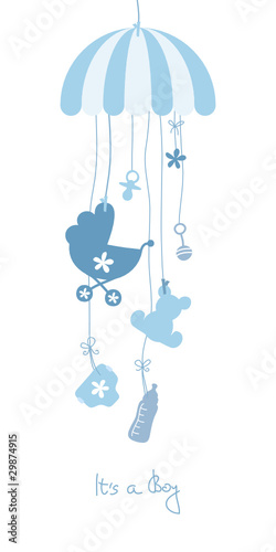 Baby Card Mobile Symbols Boy Blue