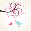 Cute valentine`s card with birds couple