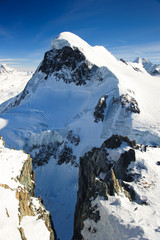 Breithorn mountain peak. View from kl. Matterhorn, Zermatt, Swit