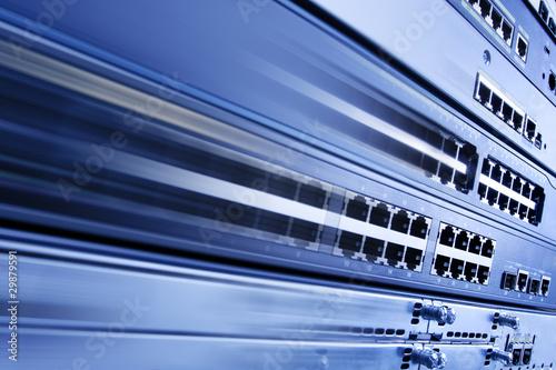 Blurred telecommunication equipment. High speed internet.