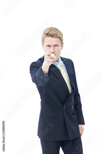Angry businessman pointing his finger