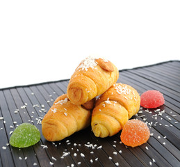 mini croissant with coconut and jelly