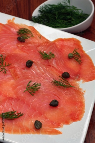 Close-up of smoked salmon