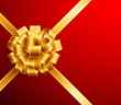 golden bow on red background