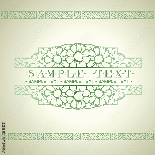Green Ornate Art Deco Vector Quad Banner