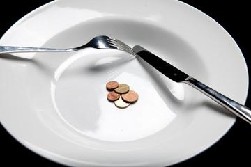 closeup money on a plate