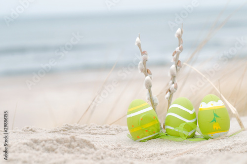 Easter decorated eggs on sand - 29886155